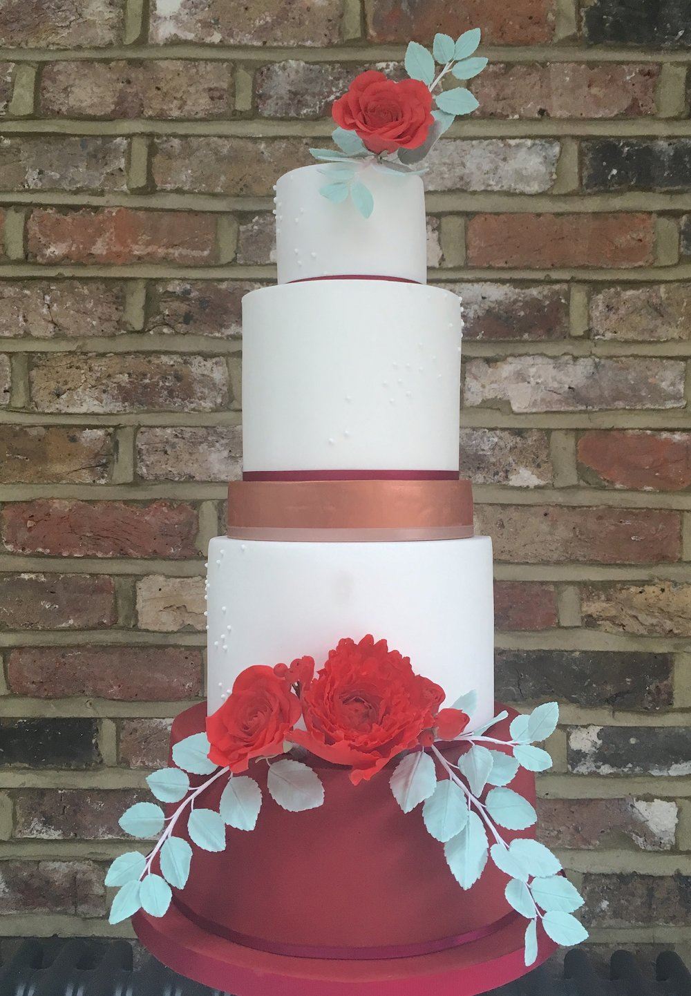 Red Rose & Copper Wedding Cake