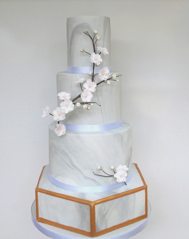 Marble and cherry blossom wedding cake
