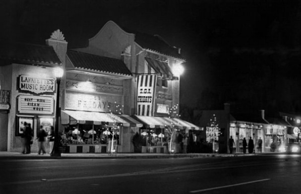Nov. 24, 1973 - Overton Square at night. South of Overton Park and bounded by Madison, Cooper, Florence and Trimble Place, the multimillion-dollar Overton Square is comprised of more than 20 businesses and entertainment facilities. Some seven new shops opened in 1972 and 18 more were expected in 1973. The day after voters approved the liquor-by-the drink measure in November 1969, the partners in Overton Square publicly announced their intentions to transform Memphis nightlife.      Image and text via Robb Mitchell/The Commercial Appeal