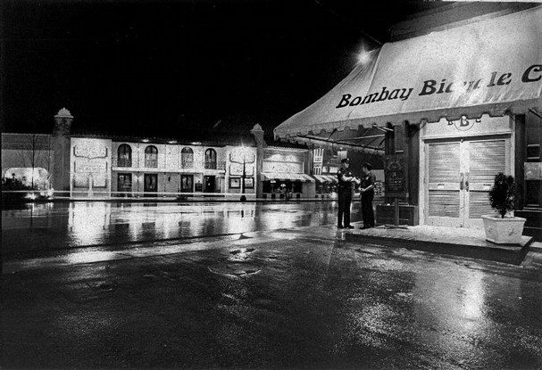 Sept. 5, 1973 - Patrolmen W.E. Crews and Robert Goodwin on foot patrol outside the Bombay Bicycle Club on Overton Square. Overton Square businessmen claim more than 50,000 people a week visit the square to have a good time. Patrolmen are paid by businesses in the area to protect patrons and drive off undesirables. The patrols are from 9 p.m. to 2 a.m. daily and until 3 a.m. on weekends. Each restaurant is assessed $1 per seat per month for the patrol.      Image and text via Robb Mitchell / The Commercial Appeal