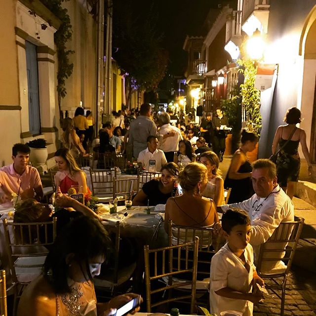Feasting on the streets... Every street filled with tables on New Years Eve in Cartagena