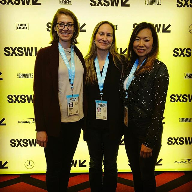 With Amanda Pike and Rachel de Leon @sxsw @drafthouse theatre in Austin with #TheTerroristHunter