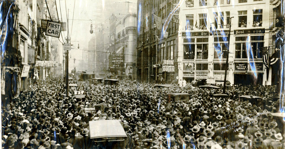 Taken November 6th 1916 - Harry Houdini performs the straight jacket escape at the corner of Wood Street and Liberty Avenue downtown Pittsburgh.