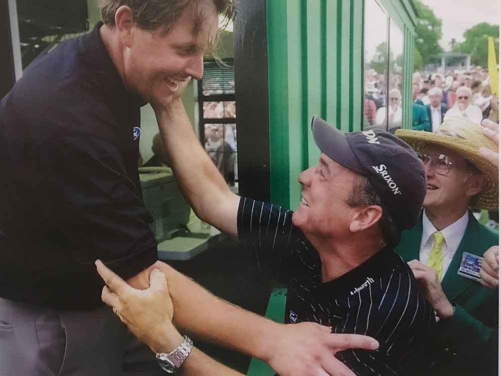Phil and Rick after winning the 2004 Masters