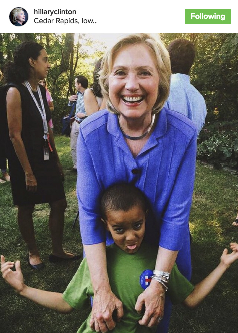 Linda's son, Fayde, chillin' with Hillary on her official Instagram feed!