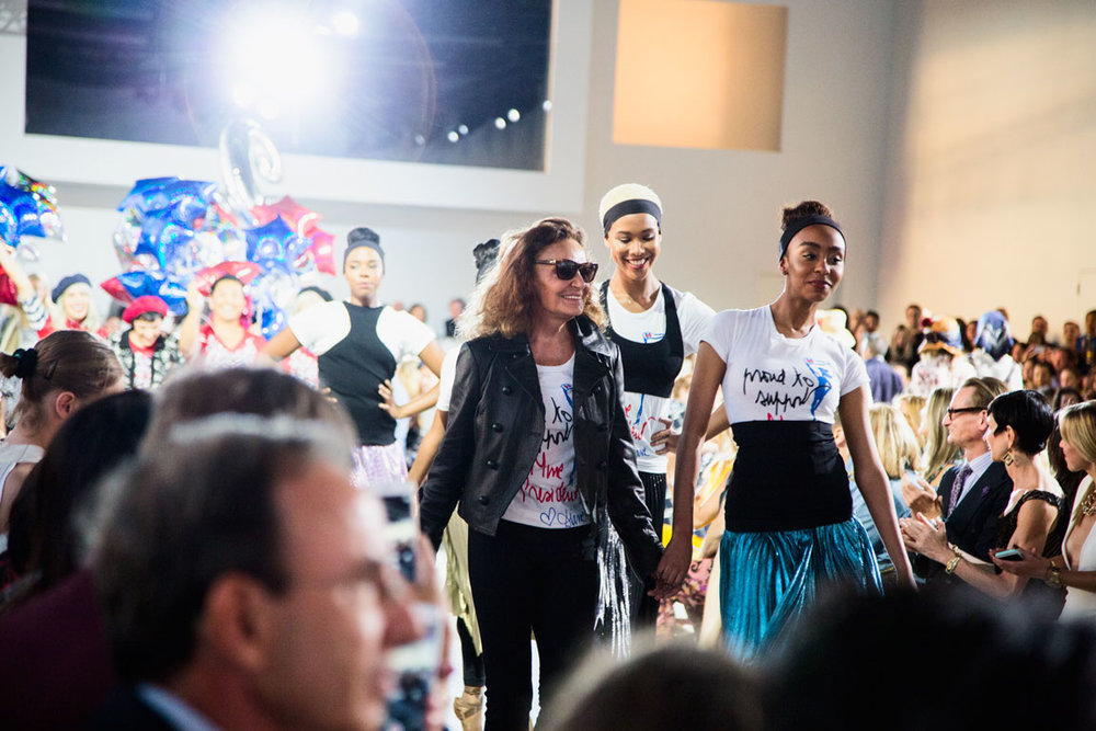 Diane Von Furstenburg joins her collection on the runway. Photo by Kristen Blush.