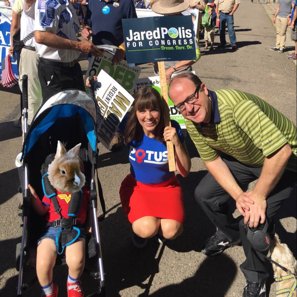Anna Roayl and her family walking with Congressman Polis at their town's 2016 Labor Day parade!
