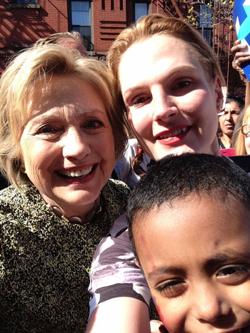 Hillary, Ella and Ray share a moment in the sun in Brooklyn, NY!