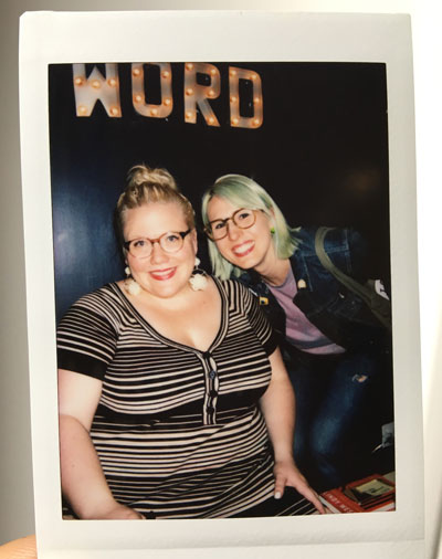 Lindy West and me during her Shrill tour in Brooklyn.