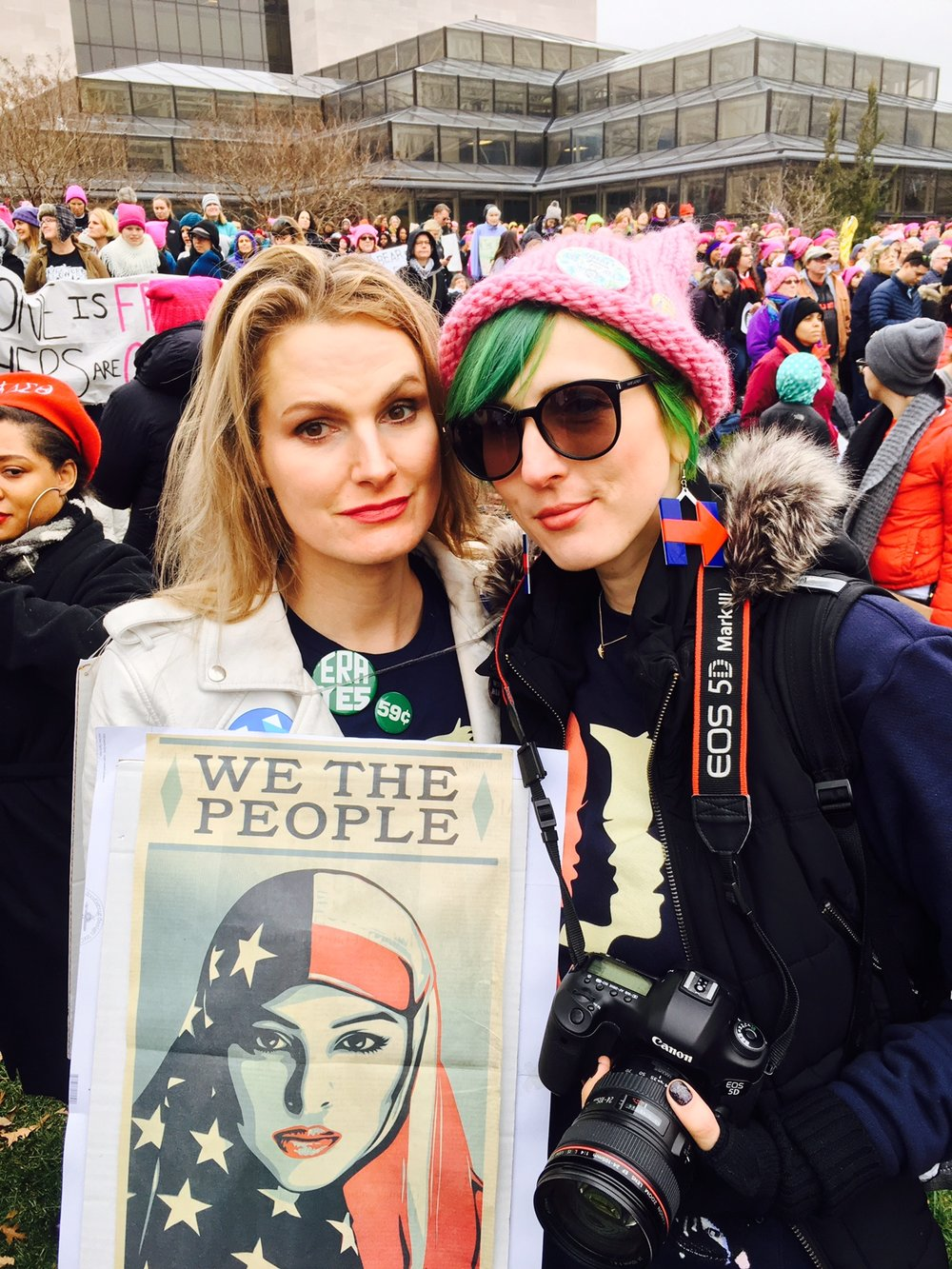 Babes For Hillary Ella Frederick and Kristen Blush march on Washington. Photo by Sue McMillan.