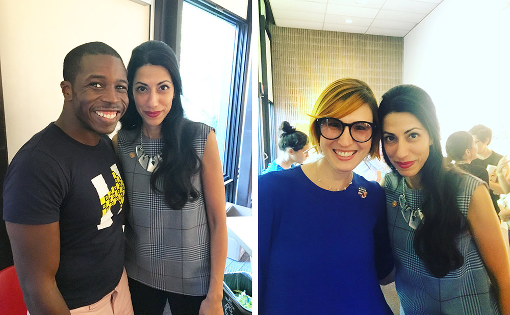 Kory Gittens and Kristen Blush pose with photos with Huma Abedin at Chappaqua Library. Thank you, Huma!