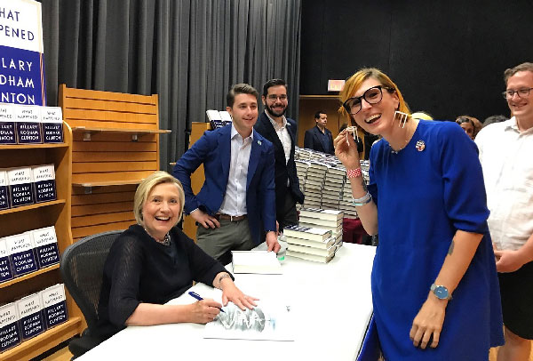 Hillary loved the pizza-saver earrings I made from her special delivery at Barnes & Noble.