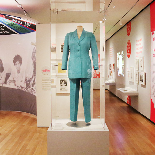 Hillary's Oscar de la Renta, teal pantsuit on display at Beyond Suffrage.