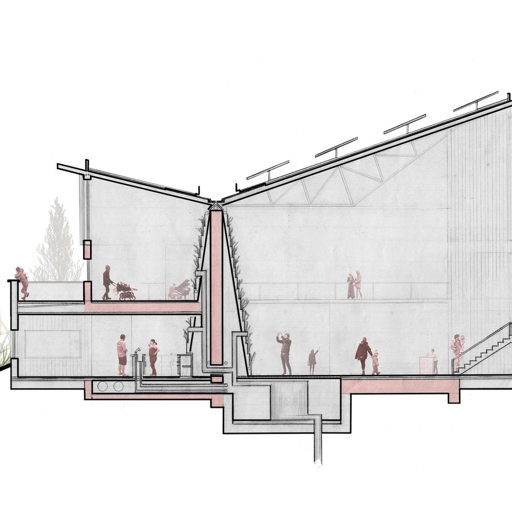 Section – Marche Vert.  Community Consultation  Sault Ste. Marie, Ontario  Studio Project, McEwen School of Architecture 2015