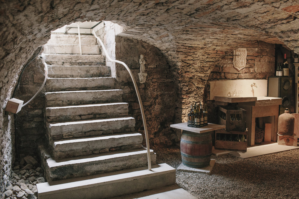 Our 13th century wine cellar under Le Relais de Vieux Beaune in Burgundy, France.
