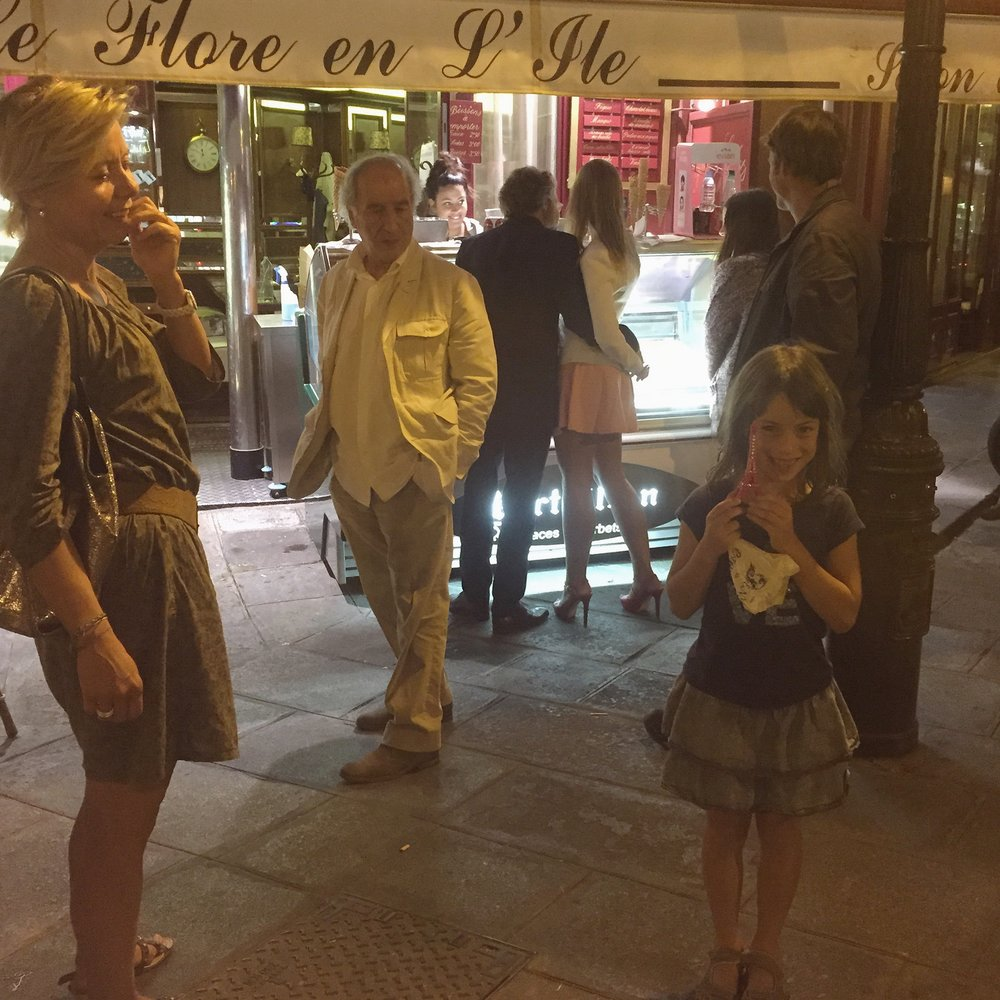 On our last trip to Paris we stopped by the Île Saint-Louis for Berthillon ice cream at midnight with our friend Joëlle (who had just bought Clem a pink Eiffel Tower embellished with rhinestones which Clem is proudly showing Franck behind the camera).