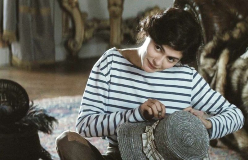 Audrey Tatou (who - funny story - is going out with the son of my ob/gyn in Beaune who delivered Clémentine and who I write about in my memoirs) showing off the effortless chic of the marinière in a still from the movie Coco Before Chanel.