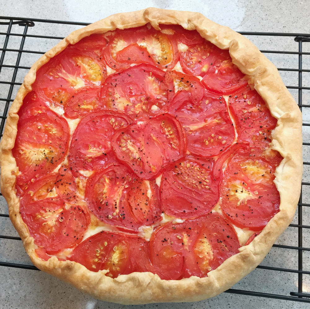Our summer tomato tart made with Charlotte's homemade pastry recipe below.