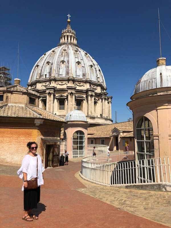 At the top of the Vatican in black palazzo pants (excellent for all those stairs), a linen top, and my beloved Birks.