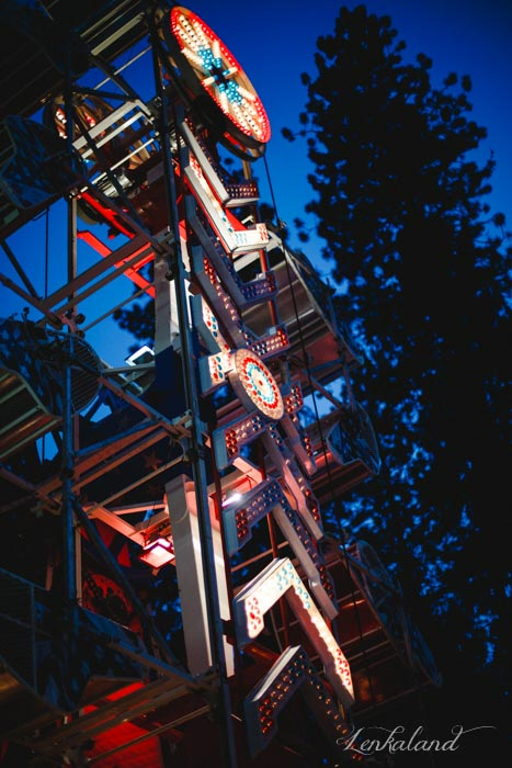 Zipper lit up at night at the Nevada County Fair