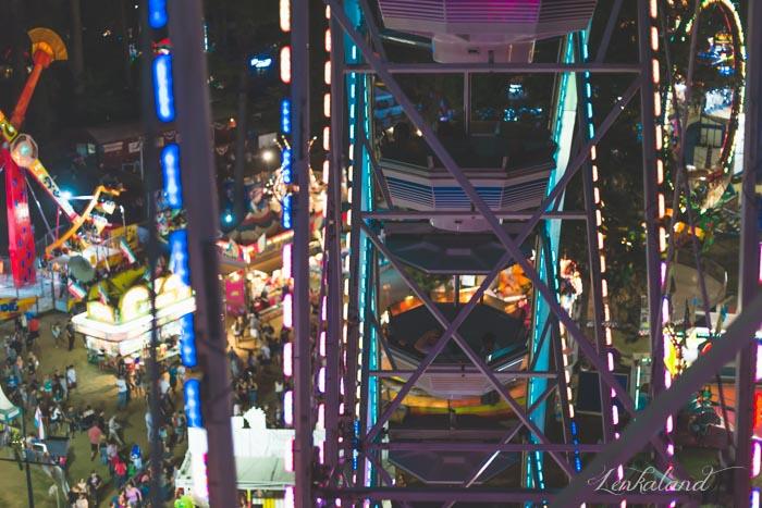 View through the giant Ferris wheel