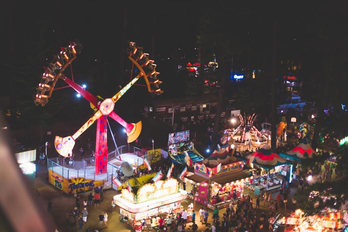 Nighttime midway at the Nevada County Fair