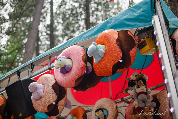 Giant stuffed animals. In donuts!