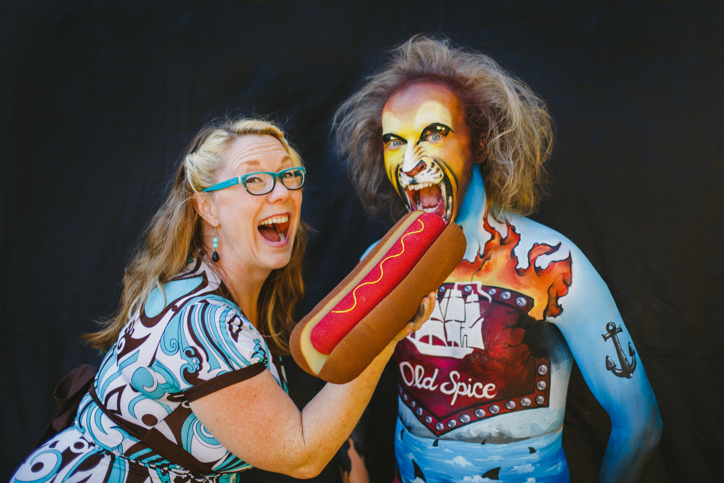 Alison Kenyon with her body art masterpiece inspired by Old Spice Lion Pride. Roar!