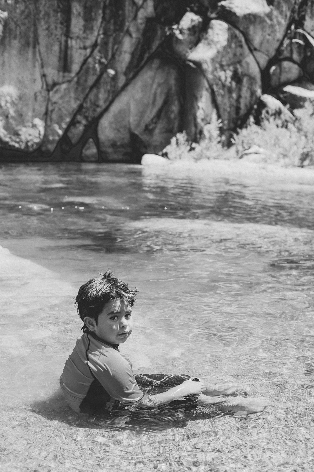 Child portrait at the Yuba River outside Nevada City, California