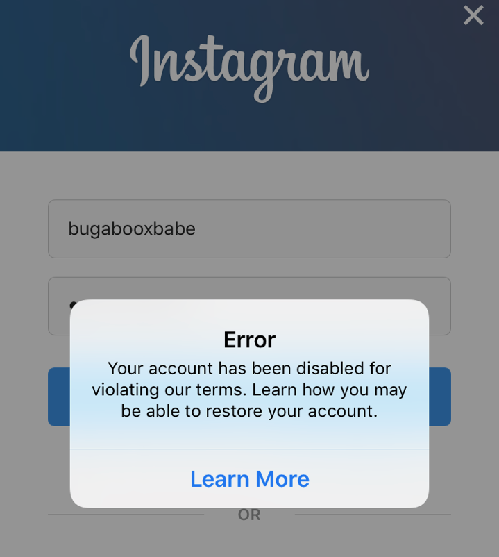 Error Message - Clicking on Learn More leads to a vague help file without links to contact Instagram.