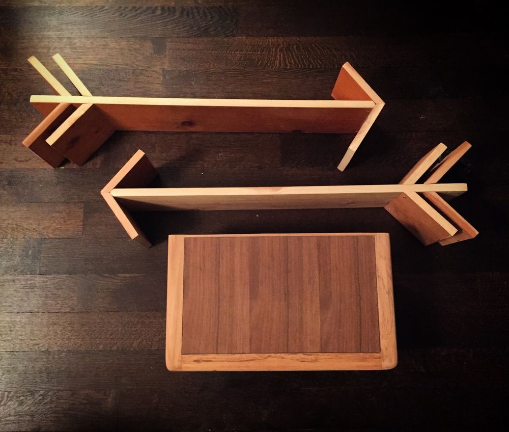 A few arrow shelves I made for the baby's room and a floating Lane shelf I made from an old coffee table.