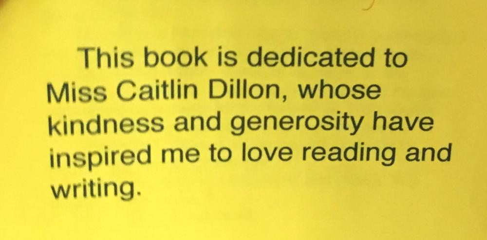 Book dedication for Testimonials