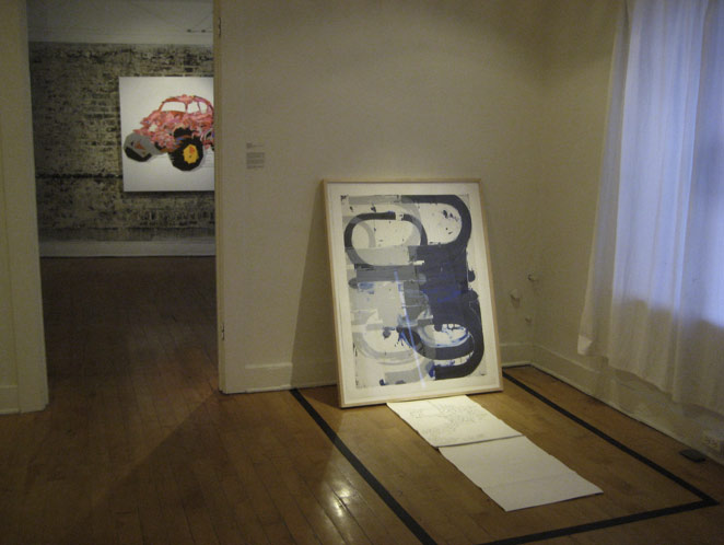Installation view from Poor Fancy pt. I, Upstairs at the Market Gallery, 2013. Michael Haight's 'John Millei' ( Parasitization II ), 2013 in foreground, Dion Cuevas' 'Buggy' in the background.