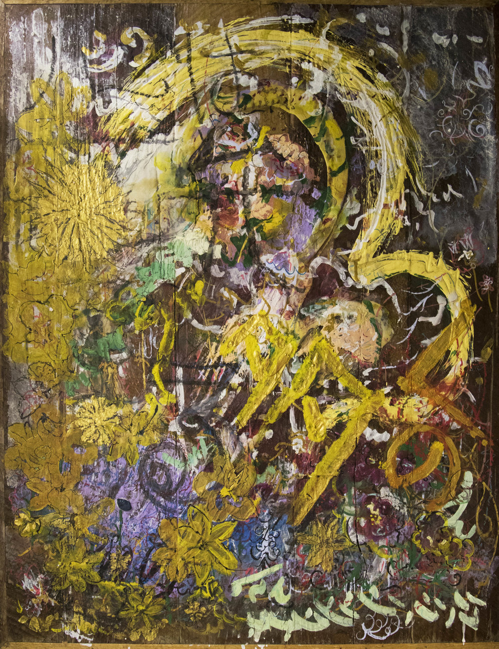 "Tempera and Flashé on Oak, 2016, 32""H x 26""W"