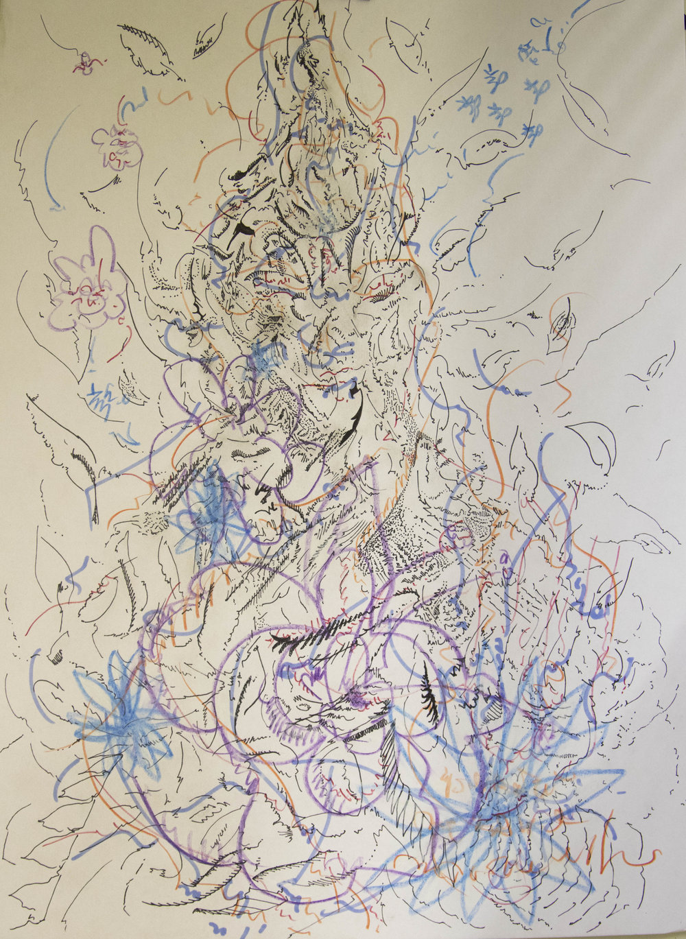 "Bodhisattva I, 2016, Ink and Colored Pencil on Mat board, 10.125""W X 14""H"