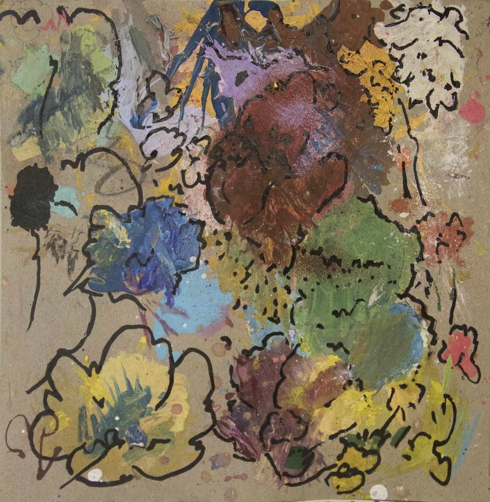 "Flower Study, 2016, Tempera and Flashé on found board, 9""H x 9""W"