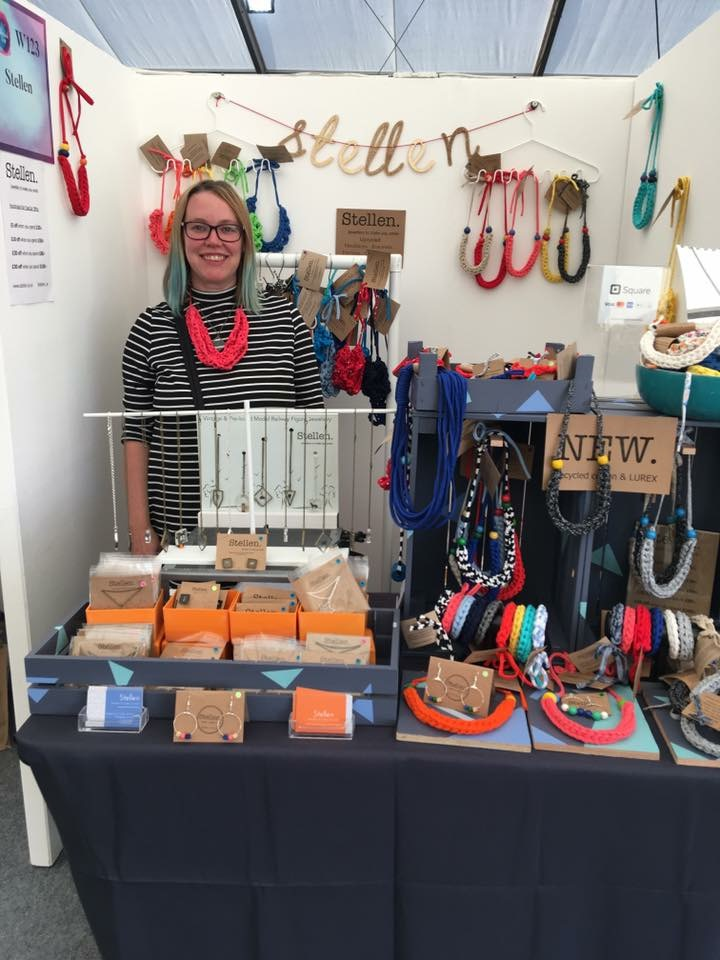 Stellen: jewellery to make you smile - Handmade jewellery using recycled and upcycled materials, such as Tshirt yarn, vintage beads and vintage model railway figures cast in resin. Based in Rochester.