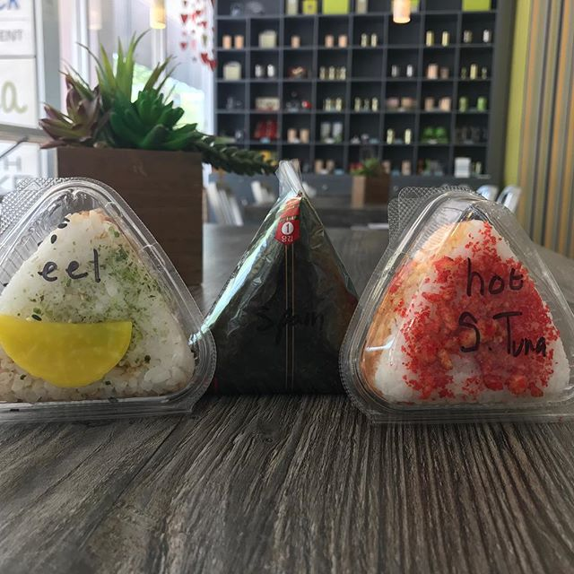 Come in and try one of our new rice balls! (Eel, spam, or the hot spicy tuna made with hot cheetos)