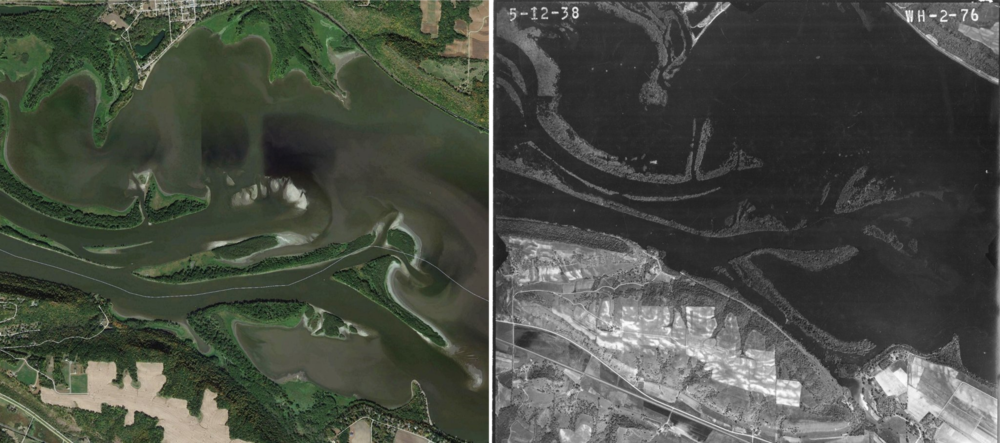 Photo comparison of Upper Lake Pepin in 2012 (LEFT) and 1938 (RIGHT). You can see how the shorelines around the lake and its islands have expanded substantially over time. Source: US Geological Survey