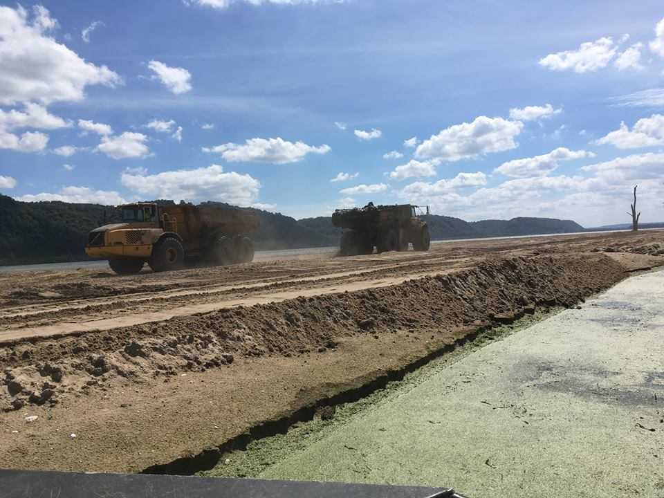 Construction of Islands at Harpers Slough near Lynxville, Wisconsin - Photo by Rylee Main