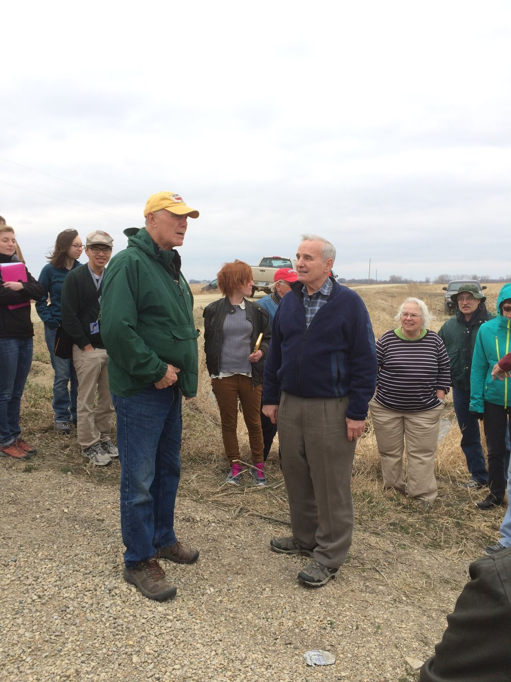 Dave Legvold and Governor Mark Dayton discussing buffer strips on Dave's farm in Northfield - Photo by Rylee Main