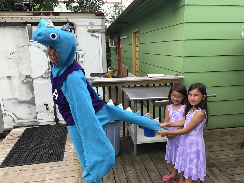 Pepie the Lake Monster advocating for Lake Pepin Legacy Alliance