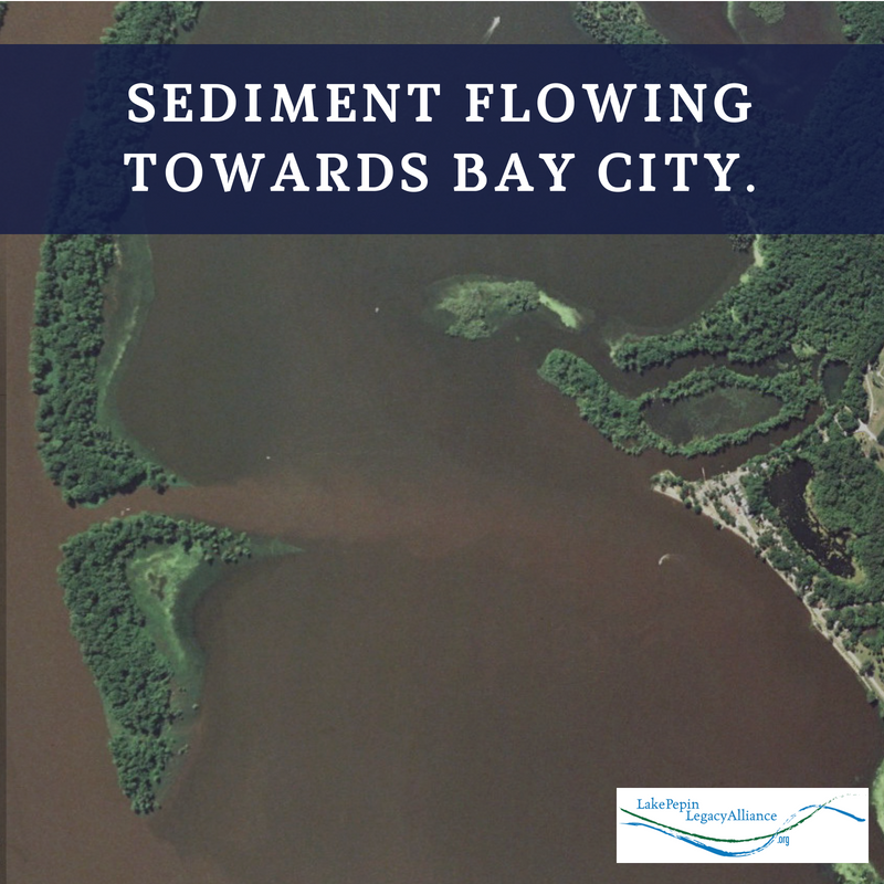 Sediment Flowing Towards Bay City at the Head of Lake Pepin on the Mississippi River