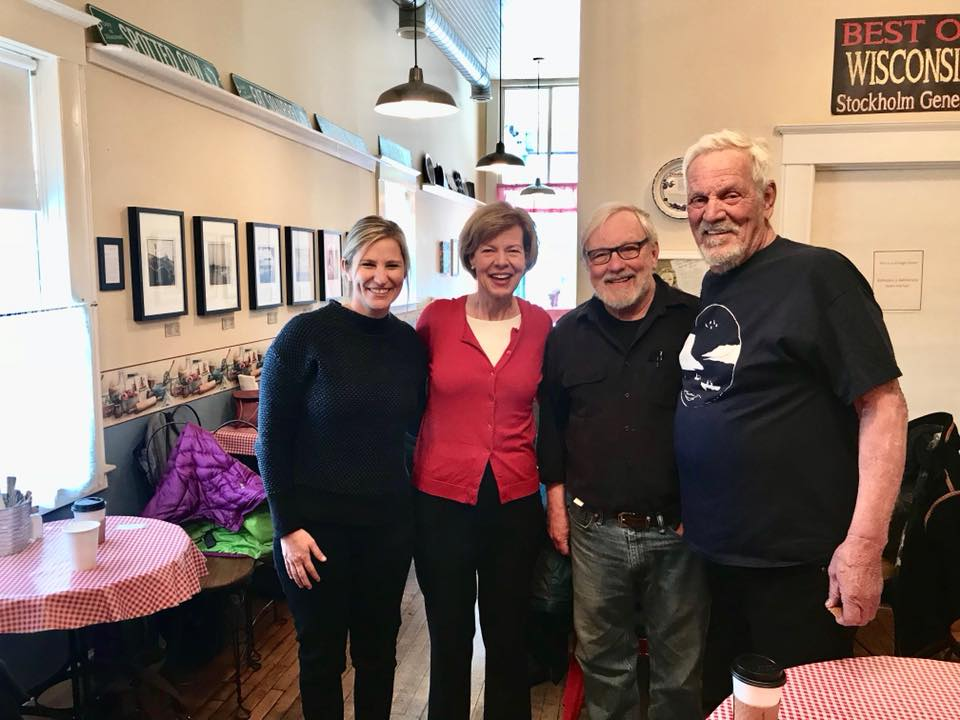 LPLA Executive Director, Rylee Main, & LPLA members with U.S. Senator Tammy Baldwin at Stockholm Pie & General Store last spring.