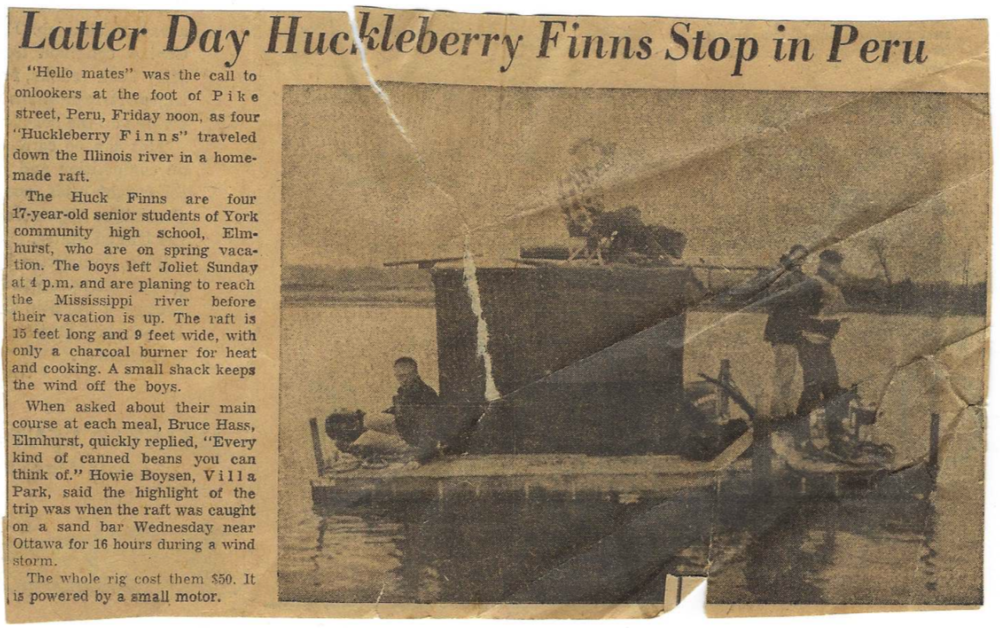 In 1955, Bill Mavity and three friends spent their school vacation floating down the Illinois River to the Mississippi River on a homemade raft.
