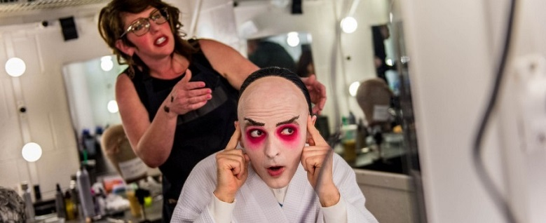 In the makeup chair for Pong in Utah Opera's TURANDOT, with wig/makeup artist Shelley Carpenter. (Photo: Trent Nelson / The Salt Lake Tribune)
