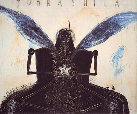 "José Bedia Tunkashila, (detail),1995 Acrylic on canvas, 71""x 86"""