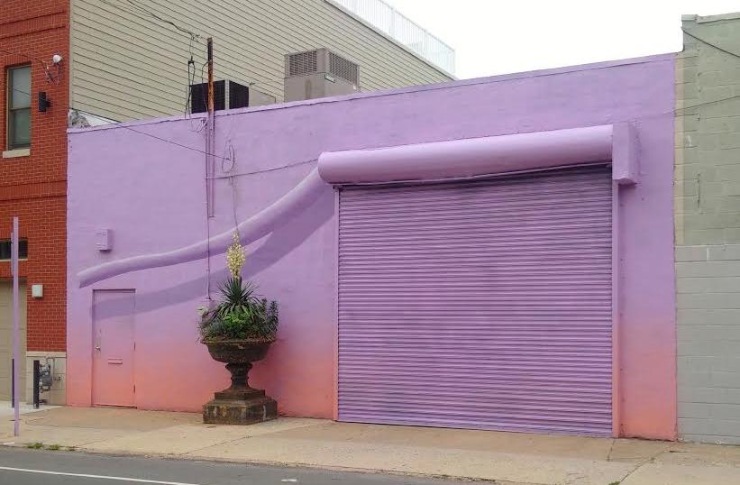 View of Meg Saligman Studio on Bainbridge Street, Philadelphia. Mural by Lizzie Kripke, 2017.