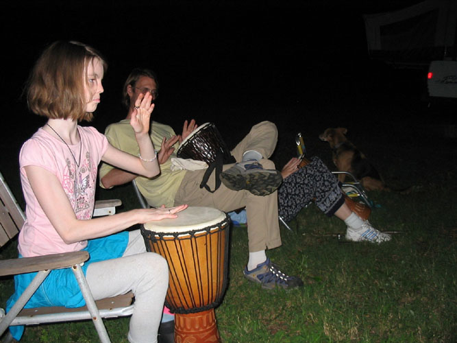 Anna Lloyd doing some very serious drumming