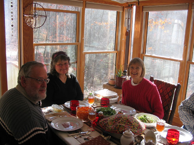 Roger Kimble, Denise Andrews, and Linda Westman at Thanksgiving 2008
